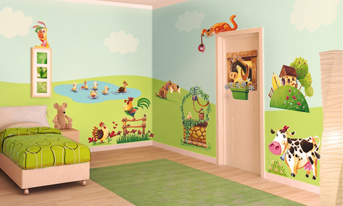 Stickers murali bambini cameretta l 39 allegra fattoria for Decorazioni per camerette